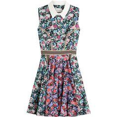 Mary Katrantzou Floral Print Dress found on Polyvore featuring dresses, florals, collar dress, long shirt dress, floral dress, scalloped dress and colorful dresses