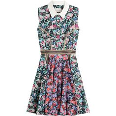Mary Katrantzou Floral Print Dress ($1,095) ❤ liked on Polyvore featuring dresses, florals, colorful dresses, sleeveless shirt dress, retro dress, flower pattern dress and full skirt shirt dress