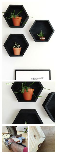 Learn how to make these simple DIY hexagon shelves for under $15 - www.rowhousenest.com