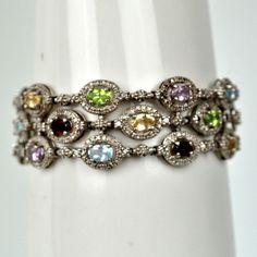 Vintage Sterling Multi-Color Bracelet