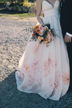 Pink flowery wedding dress