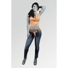 2191 Vaquero Azul Medio con Correa - Gogo Jeans | Moda Femenina via Polyvore