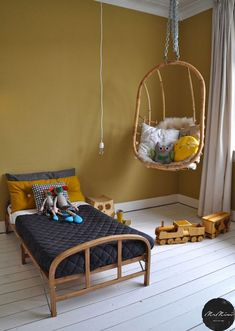 Chambre enfant little boys rooms, cool kids rooms, chair swing, mustard bed Little Boys Rooms, Cool Kids Rooms, Kids Bedroom, Bedroom Decor, Mustard Bedding, Room Wall Colors, Colorful Chairs, Kid Spaces, Girl Room