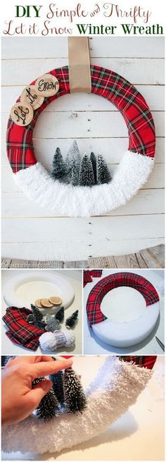 "Festive DIY Christmas Wreath Make this ""Let It Snow"" Christmas Wreath and more DIY Christmas wreath designs!Make this ""Let It Snow"" Christmas Wreath and more DIY Christmas wreath designs! Wreath Crafts, Diy Wreath, Christmas Projects, Holiday Crafts, Wreath Ideas, Christmas Decorations Diy Easy, Diy Crafts, Decor Crafts, Simple Christmas Crafts"