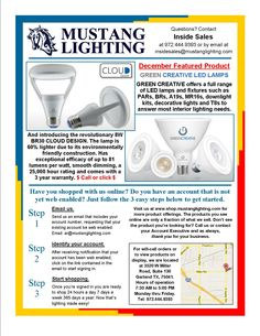 Our December Featured Product, GREEN CREATIVE LED lamps including the new revolutionary 8 watt LED BR30 CLOUD DESIGN.