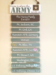 Military family wall art, showing home / duty stations Military Home Decor, Army Decor, Military Signs, Military Love, Military Decorations, Military Quotes, Military Girlfriend, Army Mom, Army Life