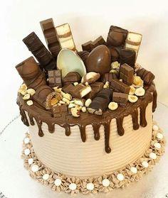 Nutella Birthday Cake, Chocolate Birthday Cake Decoration, 40th Birthday Cakes, Chocolate Explosion Cake, Chocolate Drip Cake, Candy Cakes, Cupcake Cakes, Cupcakes, Sweet Recipes