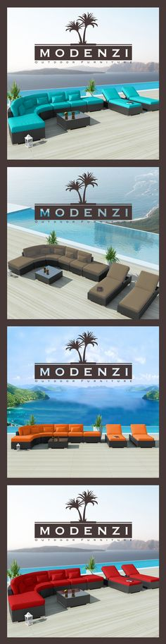 Modenzi High End Modern Wicker Furniture Sofa set 9Pcs Loungers