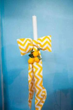 Lemon themed baptism candle by @Simi