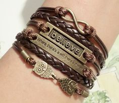 Infinity bracelet Believe bracelet where there is by SummerWishes