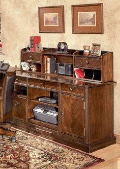 H527-46-48 traditional wood brown credenza and storage organizer unit