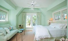 Soft sea-glass green with linen window treatments hmmm maybe in the attic...