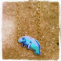 Eleanor Pigman Seed Bead Embroidered Manatee Necklace