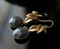 Round  Gold Filled Leaf Labradorite Drop Earrings Coin by ByGerene