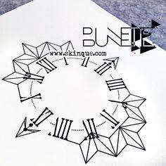 Compass geometric clock tattoo abstract illustration idea inspiration  bunette skinque Dibujo c45ee97be0890