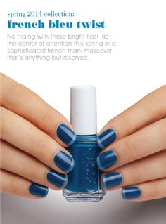essie - Nail Colors, Nail Polish, Nail Care, Nail Art & Best Nail Tips - Essie French Nails, Blue French Manicure, French Manicure Designs, Nail Art Designs, Nail Art Essie, New Nail Art, Beautiful Nail Art, Blue Nails, Nail Polish Colors