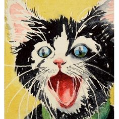 How can you not smile when you look at this face.  Such a perfect kitten expression.  LaBerge, etsy