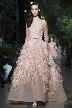 Pale pink ostrich feathre, polka dot and sequin evenign gown/wedding dress by Elie Saab Couture Spring Summer 2015 Paris - NOWFASHION