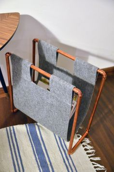 Copper magazine rack, newspaper storage industrial pipe diy minimal home living room felt etsy