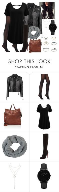 """Winter Grunge"" by blackest-raven ❤ liked on Polyvore featuring Boohoo, Wolford, Campomaggi, WithChic, Barneys New York, Christian Louboutin, Charlotte Russe, CLUSE and Topshop"