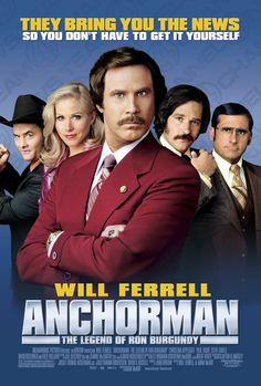 """Anchorman: The Legend of Ron Burgundy"" shows this weekend at Coolidge Corner Theatre. ""Don't act like you're not impressed.""   #Anchorman #RonBurgundy #WillFerrell #Comedy #CoolidgeCornerTheatre"