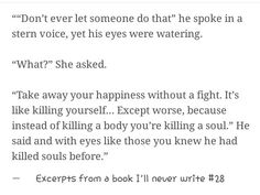 Excerpts from a book ill never write