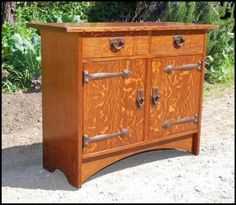 Gustav Stickley inspired custom two door cabinet with two drawers and hammered copper strap hinges - by Voorhees Craftsman Contemporary