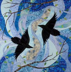 """Dancing with the Chook, 57 x 57"""", 2005, by Linda Beach ~ art quilt gallery"""