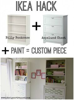 Ikea kid's room bookshelf on dresser