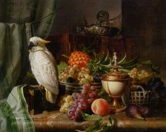 """Josef Schuster (1812-1890) A Cockatoo Grapes Figs Plums a Pineapple and a Peach Oil On Canvas -1851 79 x 63.5 cm (31"""" x 24¾"""")"""