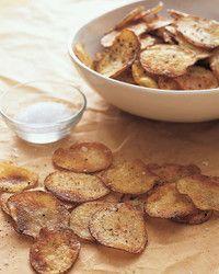 Baked Potato Chips - Martha Stewart Recipes - Today, Zeke picked potatoes from… Homemade Baked Potato Chips, Potato Recipes, Baked Chips, Homemade Chips, Potato Food, Martha Stewart Recipes, Cooking Recipes, Healthy Recipes, Skillet Recipes