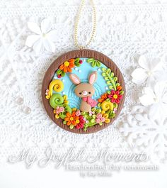 Handcrafted Polymer Clay Fall Bunny Ornament