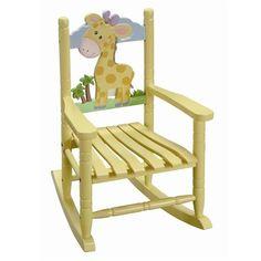 Kids Children's Toddler Yellow Safari Wood Rocking Chair Giraffe Wooden Rocker