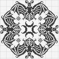 Square 24 | Free chart for cross-stitch, filet crochet | Chart for pattern - Gráfico