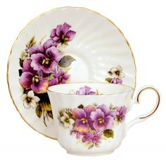 Purple Pansy Bone China Tea Cup and Saucer Made in England | eBay