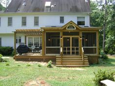 Decks And Screened Porch With Hot Tub Deck And Screened Porch With Pergola Porch With Pergola, Porch Roof, House With Porch, Pergola Ideas, Diy Pergola, Pergola Kits, Porch Ideas, White Pergola, Pergola Shade