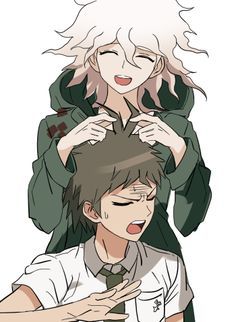 Haha AWWWWWW!! Komaeda's playing with Hajime's ahoge!!! That's SOO CUTE!!! AND HIS FACE TOO!! AWWW