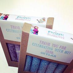 Custom #FattySundays favors for Skylar's Frozen-themed birthday party!