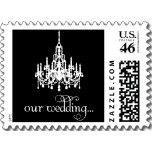 Our Wedding Elegant Black White Chandelier Stamp