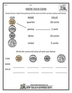 really simple, yet effective, worksheet to help teach you're grader how to recognize coins.A really simple, yet effective, worksheet to help teach you're grader how to recognize coins. Counting Money Worksheets, Money Activities, 1st Grade Activities, First Grade Worksheets, 1st Grade Math, Math Worksheets For Kids, Second Grade, Summer Worksheets, Division Activities