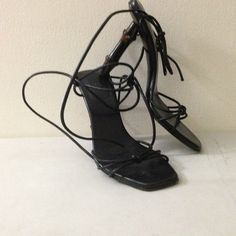 Gucci shoes Gucci black leather sandals with a bamboo heel Gucci Shoes