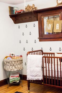 Hank's Nautical Nursery, Brooke Michaelson Photography, via Lay Baby Lay Nursery Layout, Nursery Design, Nursery Room, Baby Boy Rooms, Baby Boy Nurseries, Baby Room, Kids Rooms, Baby Cribs, Baby Nursery Neutral