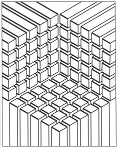 Illusion optic cubes - Optical Illusions (Op Art) Coloring Pages for Adults - Just Color - Page 2 Printable Adult Coloring Pages, Coloring Book Pages, Coloring Sheets, Op Art, 3d Cuts, Mandala Coloring, Geometric Coloring Pages, Geometric Designs, Geometric Shapes