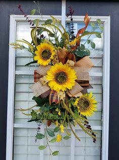 Sunflower Door Hanger Fall Sunflower Door Wreath Fall