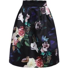 SheIn(sheinside) Multicolor High Waist Floral Flare Skirt (130 EGP) ❤ liked on Polyvore featuring skirts, bottoms, multi, high waisted skater skirt, knee length skirts, circle skirt, floral knee length skirt and vintage skirts
