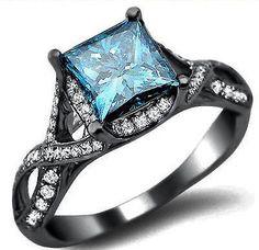 1.81CT BLUE PRINCESS CUT DIAMOND ENGAGEMENT RING 18K BLACK GOLD