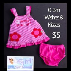 "Wishes & Kisses 0-3m Infant Girls ""Mommy's Little Angel"" 2pc Dress Set $5"