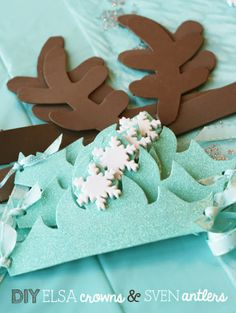 Free printable template Sven antlers and Elsa Crown from Frozen