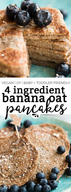 These 4 Ingredient Vegan Banana Oatmeal Pancakes are a quick and easy HEALTHY breakfast recipe, perfect for baby led weaning or toddler finger food. They're eggless, dairy free, full of fibre from the oatmeal and pack a nutritional punch with chia seeds. Perfect for families who want to practice clean eating and start their mornings with a balanced meal. via @savorynothings