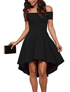 Sidefeel Women Off Shoulder Sleeve High Low Skater Dress Medium Wine Red   Look good on any figure thanks to a slim waist f05e20efd378